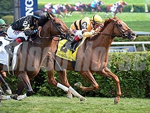 Wise Dan holds off Optimizer to win the Bernard Baruch.