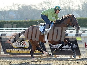 "Samraat breezed a mile in 1:45.91 and galloped out 1 1/8 miles in 1:58.72 on April 25, 2014. <br><a target=""blank""http://photos.bloodhorse.com/TripleCrown/2014-Triple-Crown/Kentucky-Derby-Workouts/i-tnx3vL8"">Order This Photo</a>"