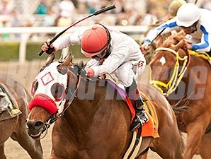 Big Macher fights for the win in the Potrero Grande Stakes.