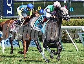 Filimbi pulls free from pacesetter Dayatthespa to take the Fasig-Tipton De La Rose.