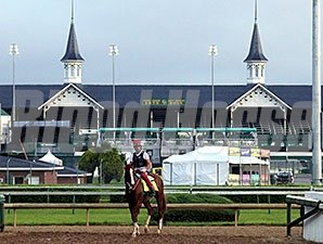 California Chrome and William Delgado in front of the twin spires at Churchill Downs.