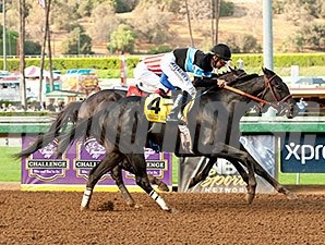 Shared Belief overtakes Fed Biz late to win the Awesome Again.