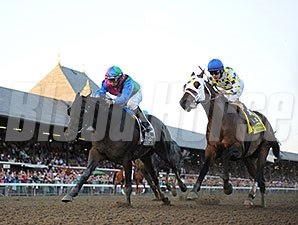 Itsmyluckyday (let) and Moreno finished 1-2 in the Woodward.