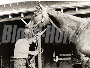 Jaipur, Billy Quade, and Charlie the Dog prior to the 1962 Travers Stakes.