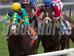 Next Question, front, wins the Neartic Stakes.
