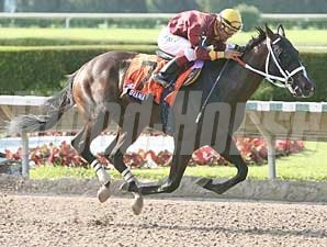 Paco Lopez rode Big Drama to victory in the Dr. Fager Stakes at Calder Aug. 16.