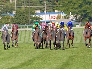 Real Solution wins the 2013 Arlington Million via DQ.