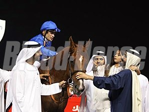 African Story with Sheikh Mohammed after winning the Dubai World Cup March 29.