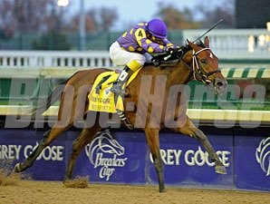 Awesome Feather wins the 2010 Breeders' Cup Juvenile Fillies.