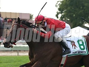 Stormofthecentury wins the 2013 Turf Monster.