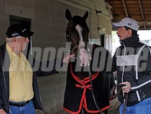 Recapturetheglory with owner Ronnie Lamarque, left, and trainer Louie Roussel