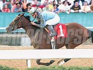Acoma is an easy winner of the Azeri Stakes at Oaklawn Park