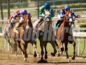 I'll Have Another (left) outfights Creative Cause (center) and Blueskiesnrainbows (right) to win the Santa Anita Derby.