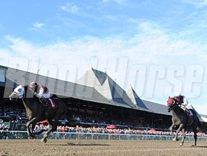 Romansh (right) wins the Curlin Stakes via Disqualification (Transparent finished 1st).