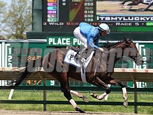 Itsmyluckyday and Elvis Trujillo works at Monmouth Park 5/12/2013.