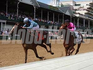 Acoma (#7) rolls home late to capture the Dogwood (gr. III) May 31 at Churchill Downs.
