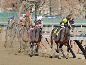 Delhomme on the lead in the Remsen - Won by Overanalyze.