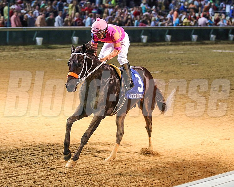 Pants On Fire drew away late to post a clear win in the Grade III Ack Ack Handicap at Churchill Downs, completing the one-turn mile in a stakes-record time of 1:33.78.