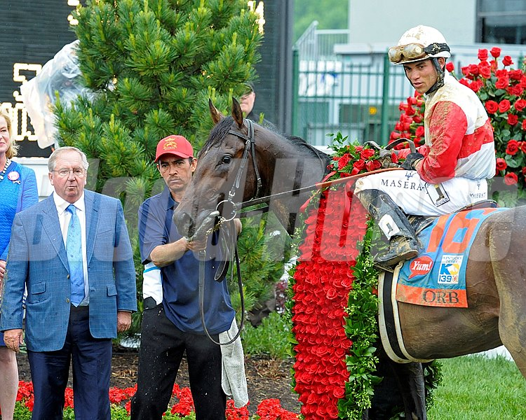 Orb with Shug McGaughey, left. Orb with Joel Rosario wins the Kentucky Derby  at Churchill Downs near Louisville, Ky. on May 4, 2013,  Derby2  image343 Photo by Anne M. Eberhardt