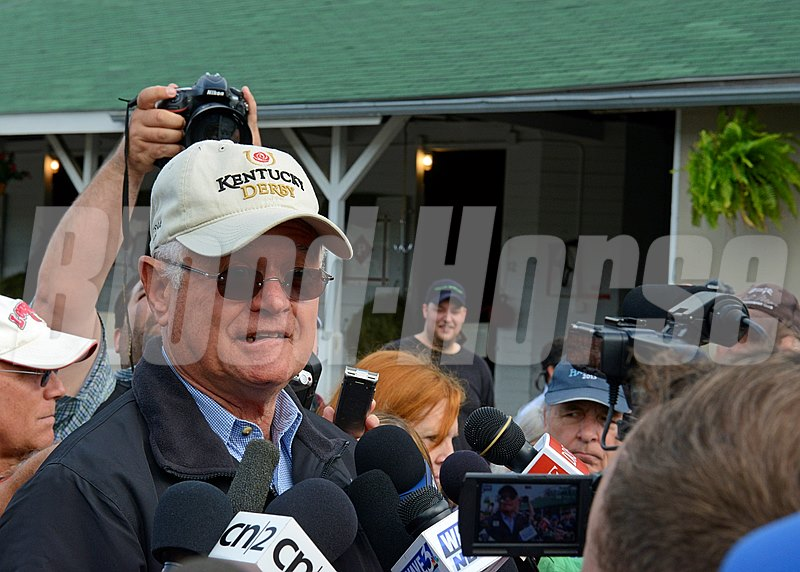 Caption: Art Sherman outside Barn 20 talking about California Chrome.