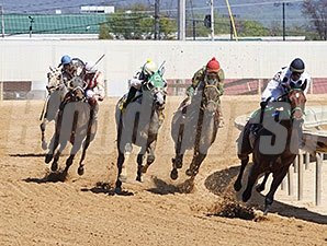 Morningisbreaking (center, #4) wins the Original Gold Stakes via disqualification.