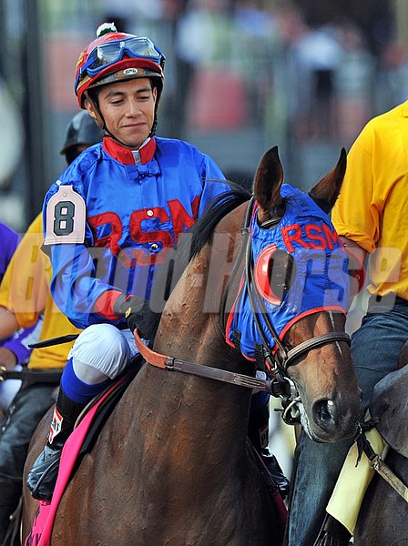 Preakness Stakes contender Social Inclusion, with Luis Contreras up, move towards the starting gate from the post parade.