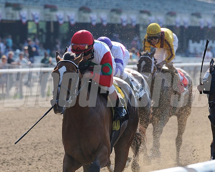 Baby J and jockey Joel Rosario capture the Victory Ride Stakes at Belmont Park in Elmont, NY.