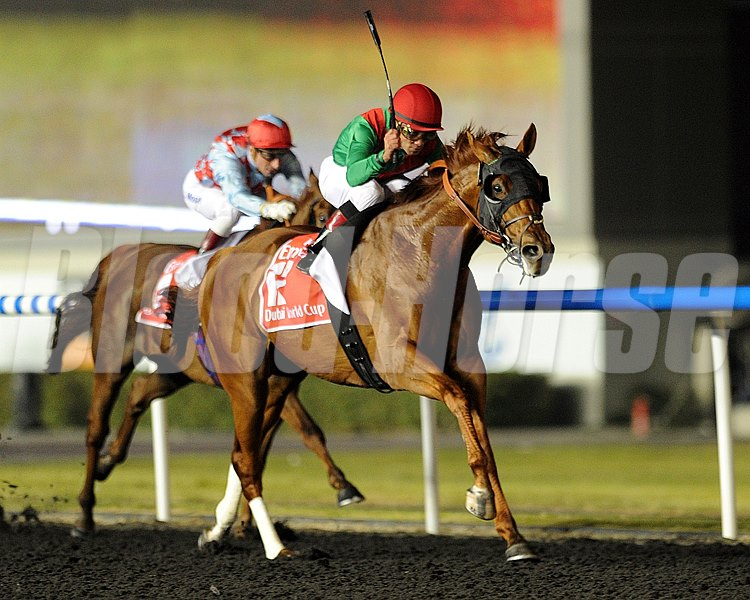 Animal Kingdom and Joel Rosario running in the  Dubai World Cup  at Meydan on March 30th, 2013.