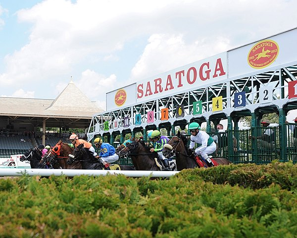 Start of the 1st race at Saratoga on opening day in Saratoga Springs, NY.