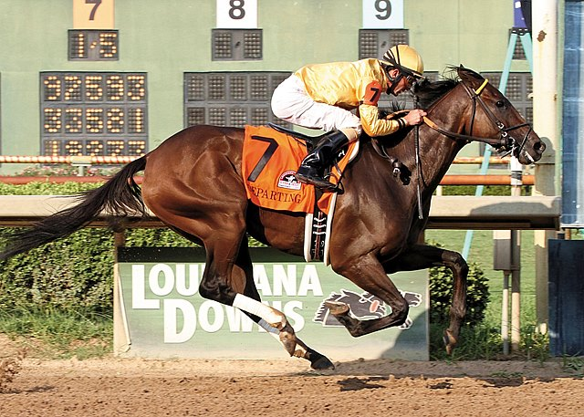 Departing and jockey Robby Albarado capture the 34th running of the $500,000 Grade II Super Derby at Louisiana Downs by four lengths.