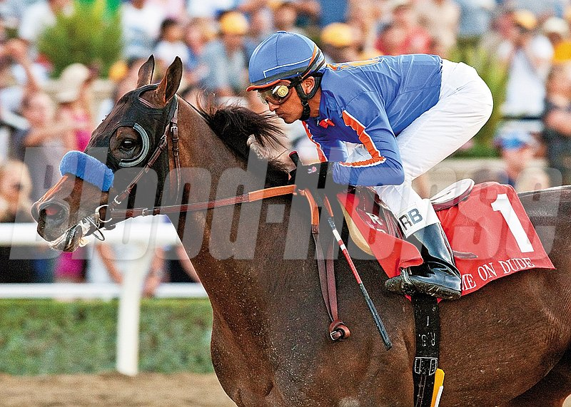 Game On Dude and Rafael Bejarano win the Grade I $250,000 Awesome Again Stakes Saturday, September 29, 2012 at Santa Anita Park, Arcadia, CA.  The 5-year-old gelding, who is the son of the race's namesake, gave trainer Bob Baffert and jockey Bejarano their third Grade I stakes win on the day. 