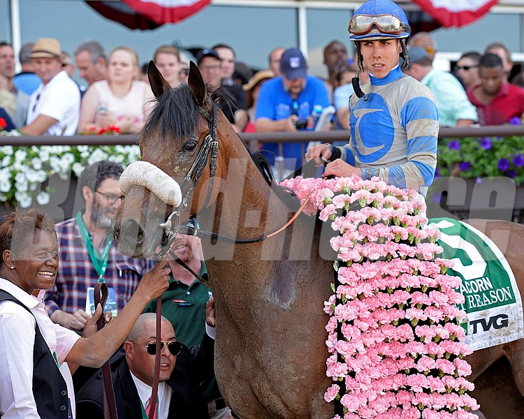 Caption: Sweet Reason with Irad Ortiz Jr. wins the TVG Acorn.