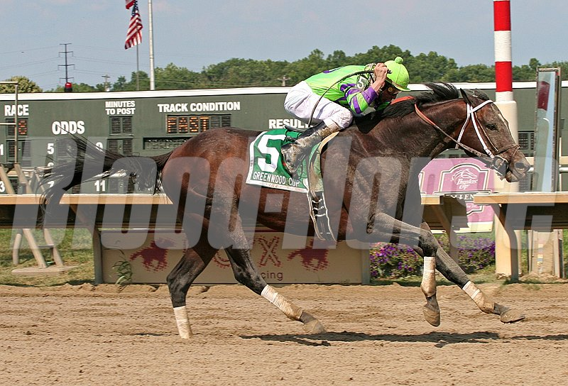 A. U. Miner #5 with Calvin Borel riding won the $200,000 Greenwood Cup, part of the Breeders' Cup Challenge,  at Parx Racing in Bensalem, Pennsylvania July 16, 2011.  Photo By Alyssa Spakowski/EQUI-PHOTO