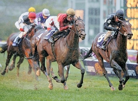 Nownownow won the inaugural running of the Breeders' Cup Juvenile Turf in the driving rain at Monmouth Park with Julien Leparoux aboard.
