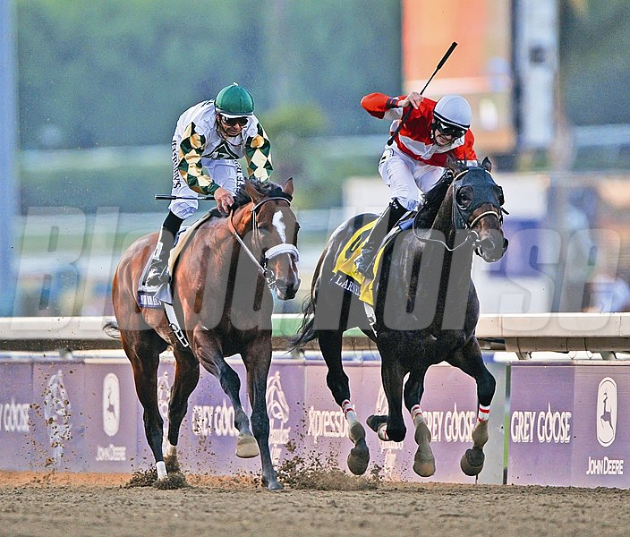 Fort Larned, Brian Hernandez up, holds off Mucho Macho Man and jockey Mike Smith, to win the $5 million Breeders  Cup Classic.