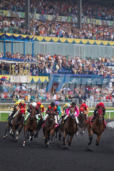 First turn of the $1,000,000 Queen's Plate Stakes at Woodbine Racetrack in Toronto Ontario.