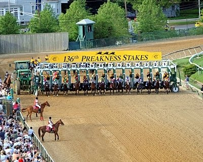 Out of the gate in the 136th running of the Preakness Stakes.