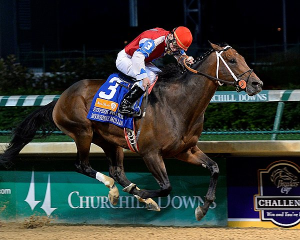 Moonshine Mullin, headed at the top of the stretch, responded to the challenge of Departing to spurt clear late and register a 10-1 upset in the $552,500 Grade I Stephen Foster Handicap at Churchill Downs.