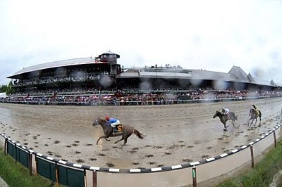 SUMMER SHOWER: Summer Bird splashes home in the Aug. 29 Travers Stakes over a sloppy track at Saratoga racetrack in upstate New York.