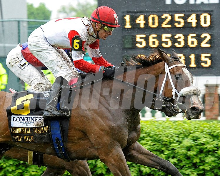 Caption:  Stephanie's Kitten with Julien Leparoux wins the Churchill Distaff Turf Mile (gr. II)  at Churchill Downs near Louisville, Ky. on May 4, 2013, during Kentucky Derby and Kentucky Oaks week.