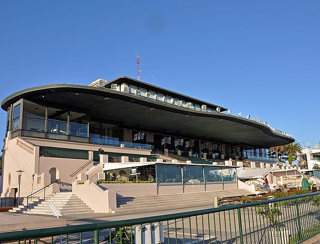 Grandstand and apron of Maronas racetrack at Uruguay, South America, January 2015.
