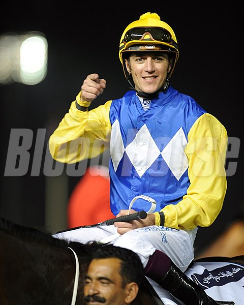Christophe Soumillon after winning the Al Quoz Sprint on Shea Shea.