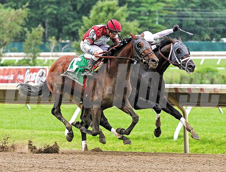 Last Gunfighter (left) with Joe Bravo riding won the $150,000 Philip H. Iselin Stakes at Monmouth Park over San Pablo (right) and Chris DeCarlo.