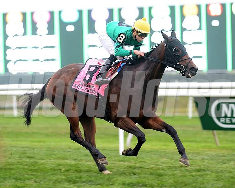King Kreesa wins the Mohawk Stakes at Belmont Park.