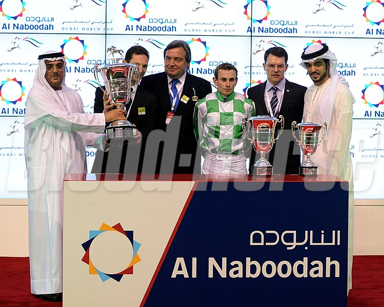 The UAE Derby trophy presentation for the winning connections of Lines of Battle.