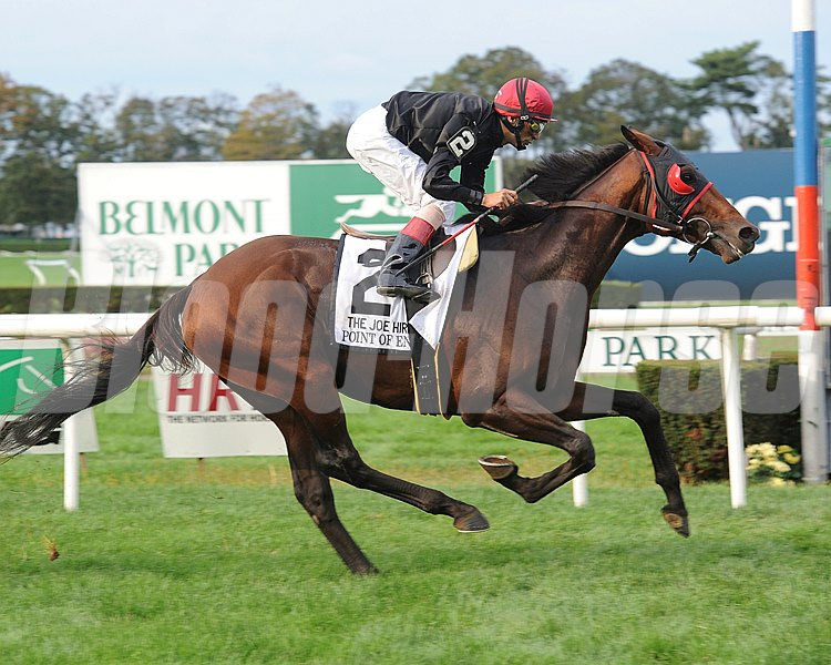 Point of Entry wins the Joe Hirsch Turf Classic Invitational Stakes (gr. 1) Jockey: John Velazquez BELMONT PARK, Elmont, NY Purse: $600,000 Date: September 29, 2012 Class: Grade I TV: Age: 3YO&UP Race: 9 Distance: 1 1/2 miles turf Post Time: 5:12 PM ET