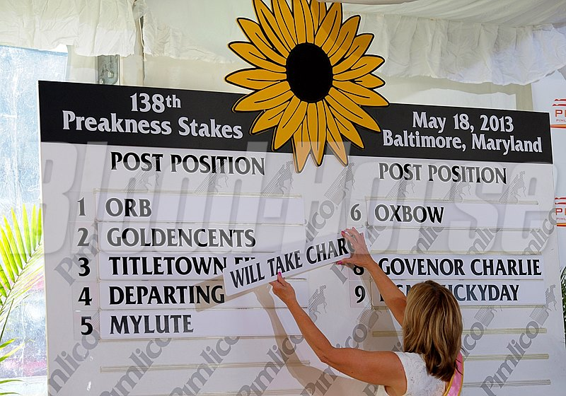 Putting up final number 7 Will Take Charge Preakness week 2013 with the Post Position Draw held at Pimlico on May 15, 2013, in Baltimore, Md. PREAKNESS Draw1 image863 Photo by Anne M. Eberhardt