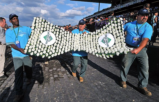 The Belmont Stakes blanket of carnations arrive for the big race June 8, 2013.