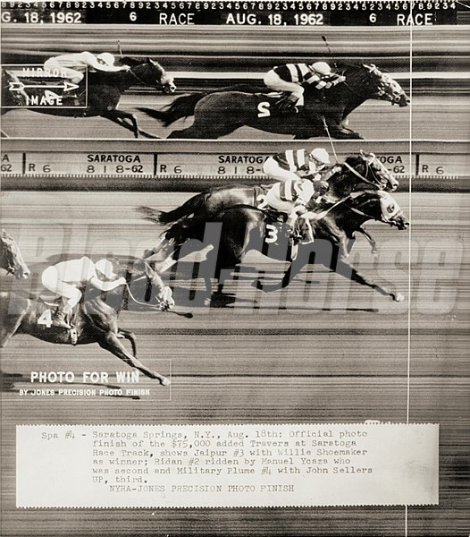 #3 Jaipur, and jockey WIllie Shoemaker, defeat #2 Ridan to win the 1962 Travers Stakes at Saratoga Springs on August 18, 1962.