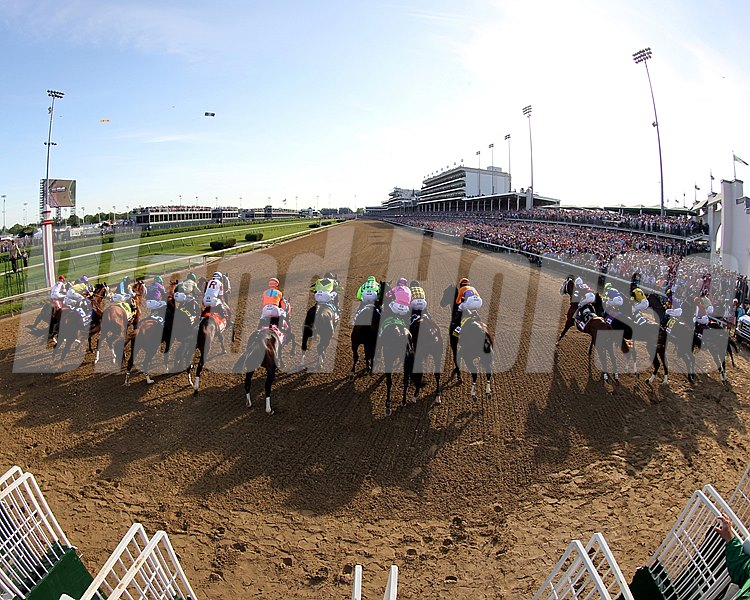 The field breaks well from the starting gate. The Derby was witnessed by the second largest crowd of all time, 164,906, at Churchill Downs. The all-time mark was set two years ago.